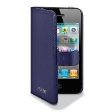 PURO COVER CON FLIP VERTICALE IPHONE 4 BLUE